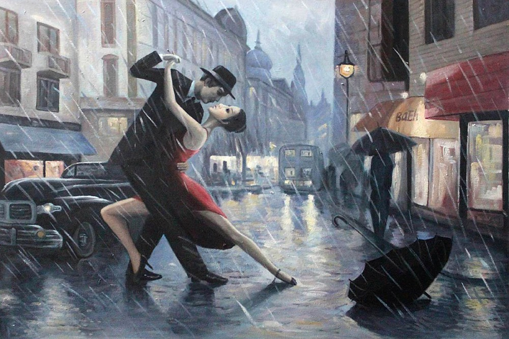 Romantic Tango Oil Painting Hand Painted 100% Life is a Dance in The Rain by Adrian Borda Oil Reproductions on Canvas Horizontal