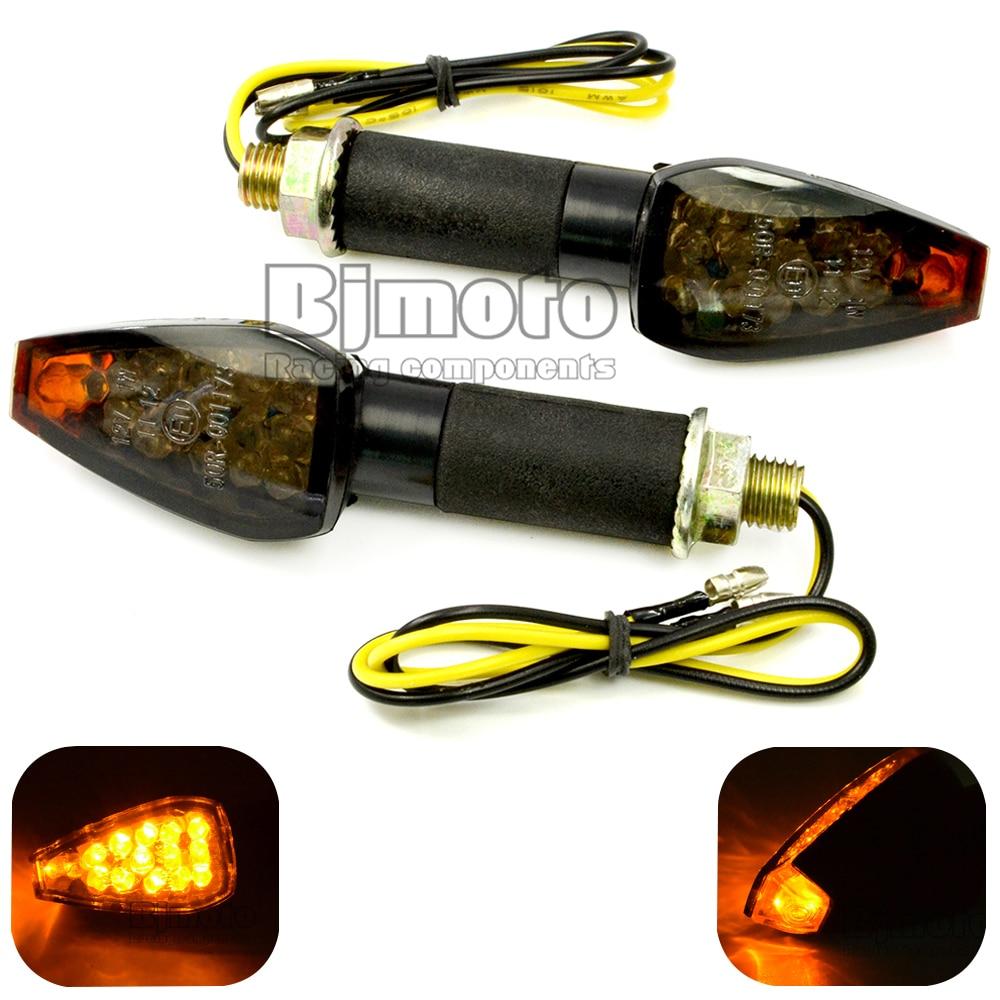 Universele motorfiets zwarte behuizing roken Lens Amber LED richtingaanwijzer Lampen 12V Indicatoren Knipperlichten Voor bobber yamaha suzuki