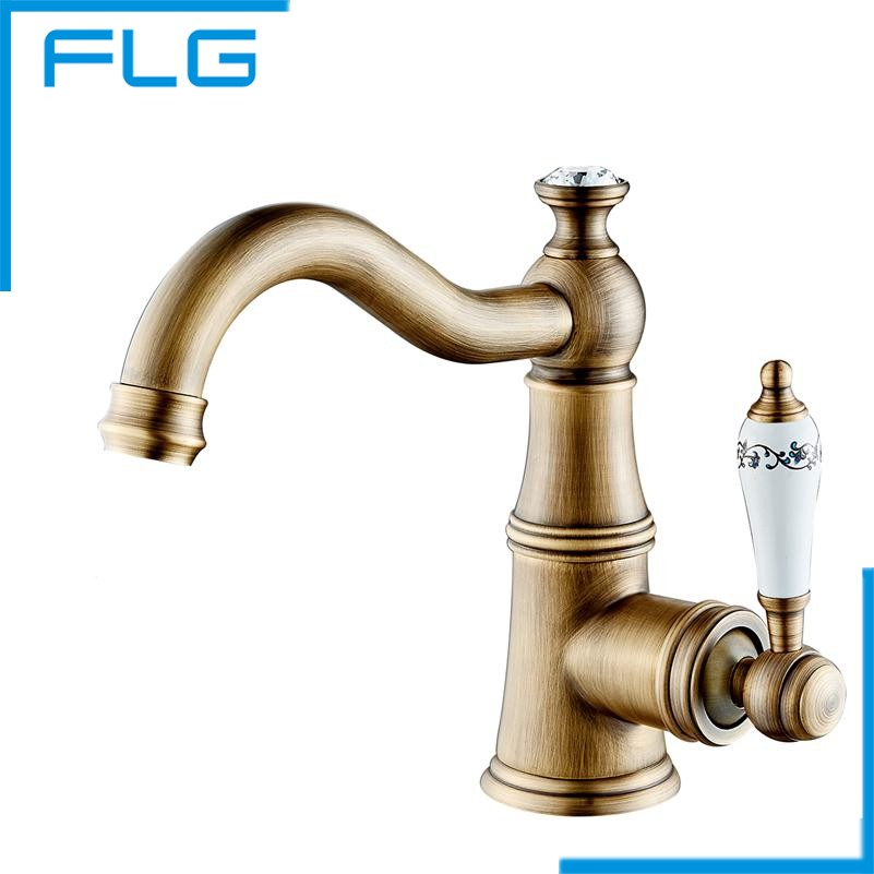 ФОТО Free shipping Contemporary Concise Bathroom Faucet Antique bronze finish Brass Basin Sink Faucet Single Handle water taps
