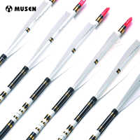 US 31/33 inches Archery Carbon Arrows Shaft Spine 500 OD 7.6MM ID 6.2mm Turkey Feather For Recurve Hunting Practice