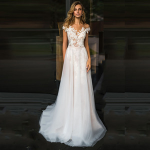 Image 1 - Beach Lace Wedding Dress 2020 V Neck A Line Appliques Tulle Long Princess Vintage Bridal Dress Custom Made Wedding Gown
