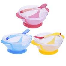 Детские Обучающие блюда присоска чаша набор ложка и вилка противоскользящие детские милые обучающие блюда