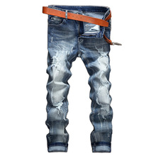 Fashion The Explosion Of Foreign Male Hole Jeans Europe Personality Old Jeans SLIM STRAIGHT pants retro tide Men Jeans.