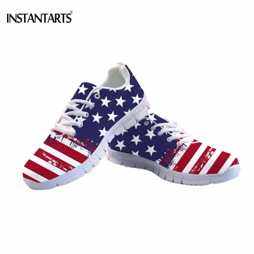 INSTANTARTS Fashion American USA Flag Print Unisex Mesh Flats Shoes Casual Teen Girls Sneakers Breathable Women Lace-up Footwear instantarts cute glasses cat kitty print women flats shoes fashion comfortable mesh shoes casual spring sneakers for teens girls