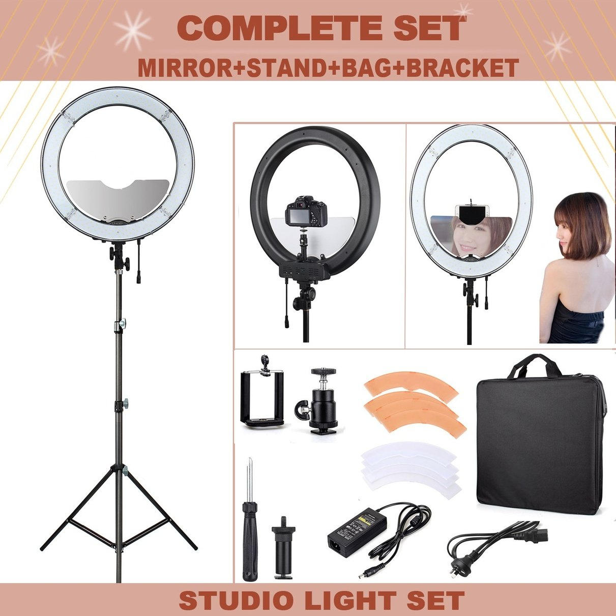 "Stand Up Light: ES240 18"" 5500K Dimmable LED Adjustable Ring Light With"
