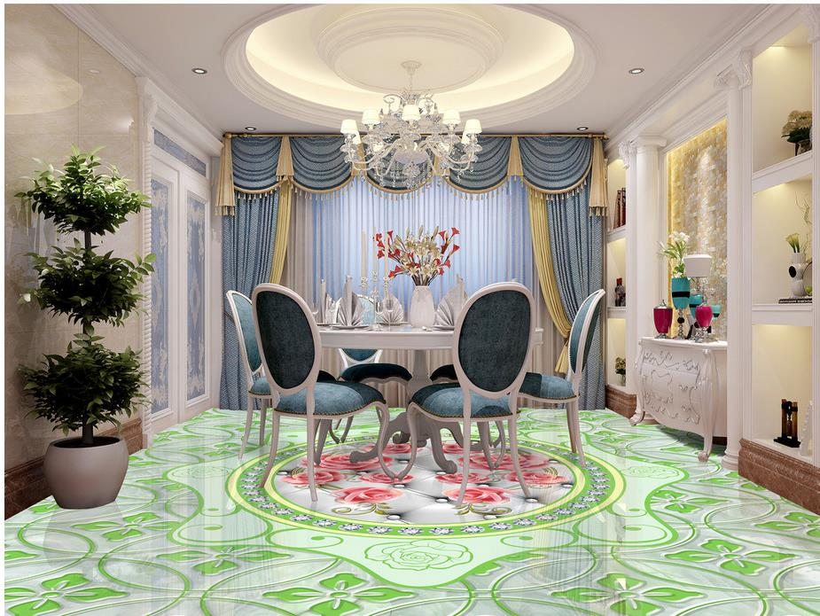 Custom photo floor wallpaper 3d Marbles rose pattern self-adhesive 3D floor PVC waterproof floor Home Decoration