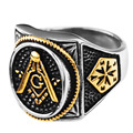 Wholesale Gold Plating Mason Signet Ring /Men's Stainless Steel Freemason Masonic Rings,fashion Party ring Jewelry