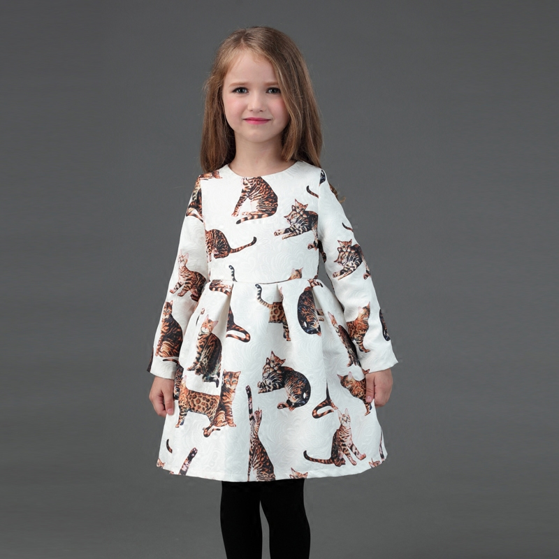 Brand Spring mother and daughter dresses children clothes white cats print party family matching outfits mom and baby girl dress 2016 spring family fashion clothing half sleeve elegant floral print dress clothes for mother and daughter baby girls dresses