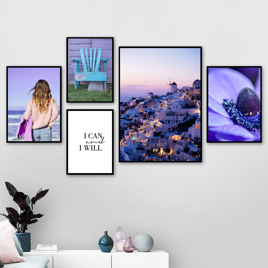 Paris Castle Girl Chair Flower Quote Wall Art Canvas Painting Nordic Posters And Prints Pictures For Living Room Home Decor
