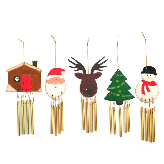 Home DIY Wood Christmas Wind Chimes Ornament Gifts For Children Hang  Decorations Set Crafts Metal Garden