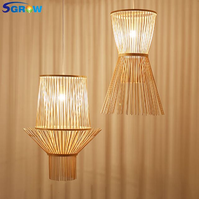 Sgrow Hand Made Bamboo Pendant Lights With E27 Bulb Indoor Lighting Fixtures For Dinning Room Loft