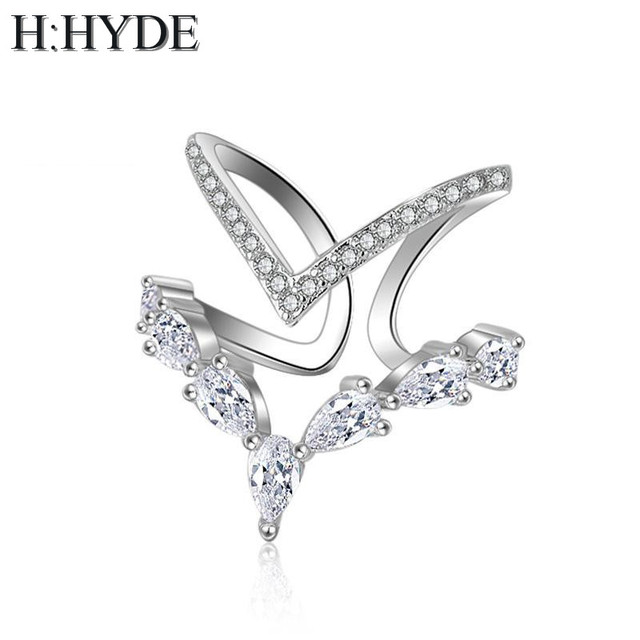H:HYDE Fashion Lover Heart Crystal Finger Rings For Women Bijoux Cubic Zircon Ro