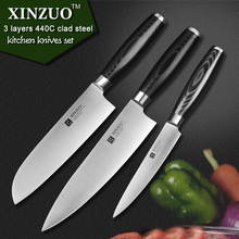 XINZUO super sharp 3 pcs kitchen knife set utility Santoku Chef knife 3 layers 440C clad steel Kitchen Knife sharp free shipping