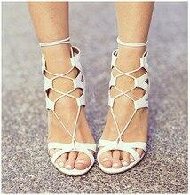 High heels schuhe frau pu-leder schuhe frauen sommer sandalen schwarz/weiß offenen zehen hochwertige bandage frauen hohe heels sandalen