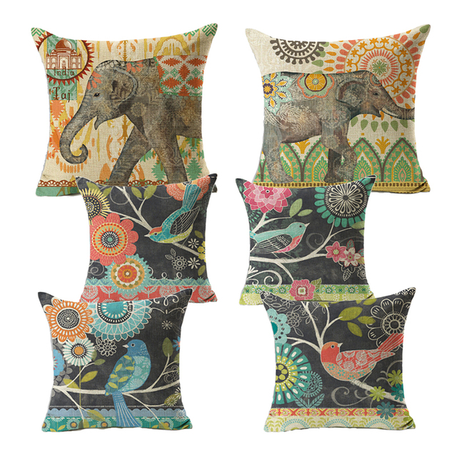 line Shop Monily Cartoon Pillow Cover India Elephant Retro Bird