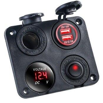 12V-24V multifinction 4 en 1 cargador de coche panel Dual USB impermeable encendedor de cigarrillos Socket Splitter para coche camión motocicleta Bo