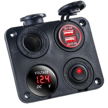 12V-24V multifinction 4 in 1 Car charger panel Dual USB waterproof Cigarette Lighter Socket Splitter for Car Truck Motorcycle Bo