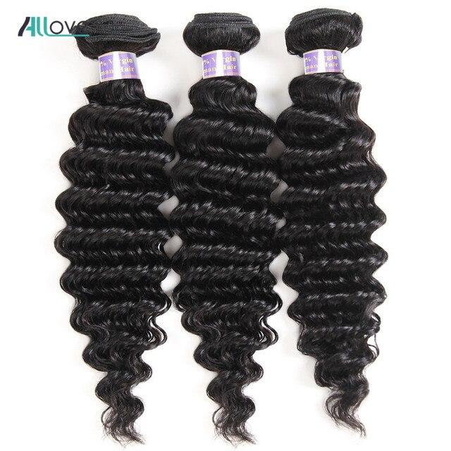 Allove индийские волосы глубокая волна пучки волос 100% человеческих волос Weave Связки не Волосы remy натуральный Цвет 8-28 дюймов двойной уток машины
