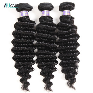 Allove Indian Hair Deep Wave Hair Bundles 100% Human Hair Weave Bundles Non Remy Hair Natural Color 8-28inch Double Machine Weft