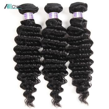 Allove Indisches Haar Tiefe Welle Haar Bundles 100% Menschliche Haarwebart Bundles Nicht Remy Haar Natürliche Farbe 8-28 zoll Doppel Maschine Schuss