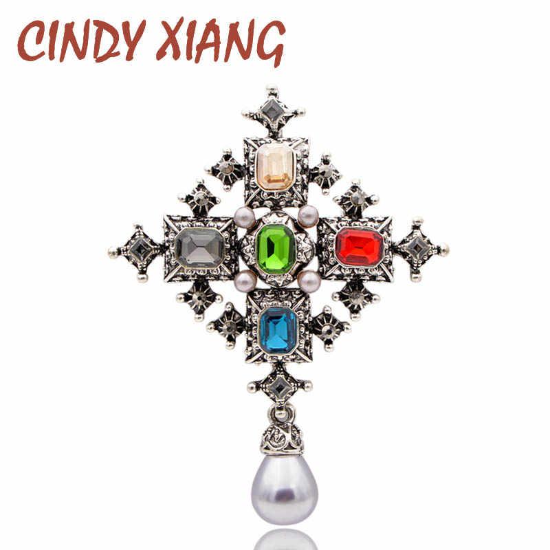 Cindy Xiang Unisex Crystal Cross Bros untuk Wanita Vintage Warna-warni Fashion Bros Pin Perhiasan Mutiara Mantel Tas Aksesoris