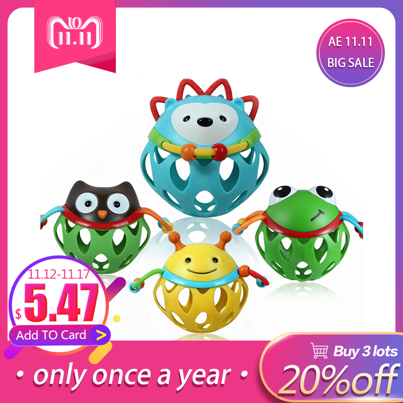 LeadingStar Baby Soft Rubber Hollow Rattle Cartoon Animal Teether Ball Educational Toy Gift for Boys and Girls zk30 cute baby rattle bath toy squeeze animal rubber toy duck bb bathing water toy race squeaky yellow duck classic toys reborn gift