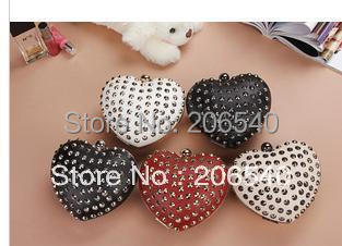 PUNK Heart Shaped Party Queen Silver Rivet Clutch Evening Bag Sling bag 260g Wholesale Drop shipping Free shipping