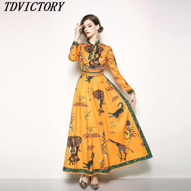 58180ed5066 Detail Feedback Questions about New Fashion 2019 Fall Runway Maxi Dress  Women s Long Sleeve Bow Collar Animal Printed Elegant Party Long Dress  vestidos S ...
