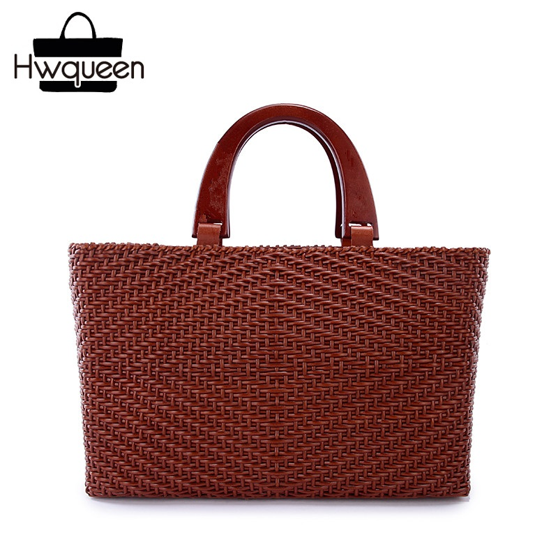 цена на Vintage Hand knitted Designer Genuine Cow Leather Wooden Handle Women's Handbag Cowhide Female Ladies Large Single Shoulder Bag
