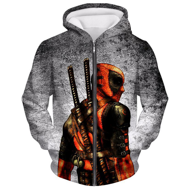 Cloudstyle 2019 New Comic Superhero Deadpool 3D Printed Grey Men 39 s Zipper Hoodies Zipper Hooded Hoodies Streetwear Hoodie 5XL in Hoodies amp Sweatshirts from Men 39 s Clothing