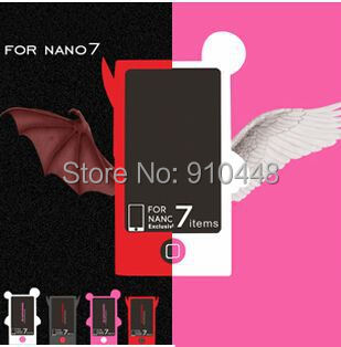 Free shipping Candy Color Soft TPU Silicone Angel Devil Style Case for Apple iPod Nano 7 with screen protector Retail package ...