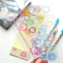 4Pcs set DIY Kawaii Rainbow Lace PVC Sticker Lovely Heart Stickers For Scrapbooking Diary Free Shipping