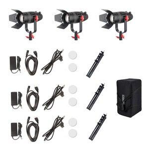 Image 5 - 3 Pcs CAME TV Boltzen 30 w Fanless Fresnel Focusable LED Bi Color Kit Com Stands de Luz