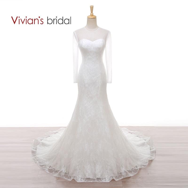 Vivian's Brude Satin Lace Havfrue Perler Lang Ærme Brudekjoler Sequin Brudekjole WD550