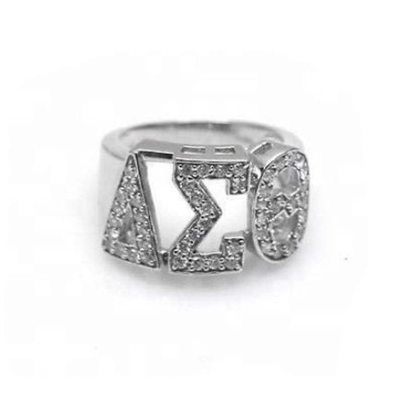 High Quality Silver Zircon GREEK Delta Sigma Theta SORORITY Finger Ring