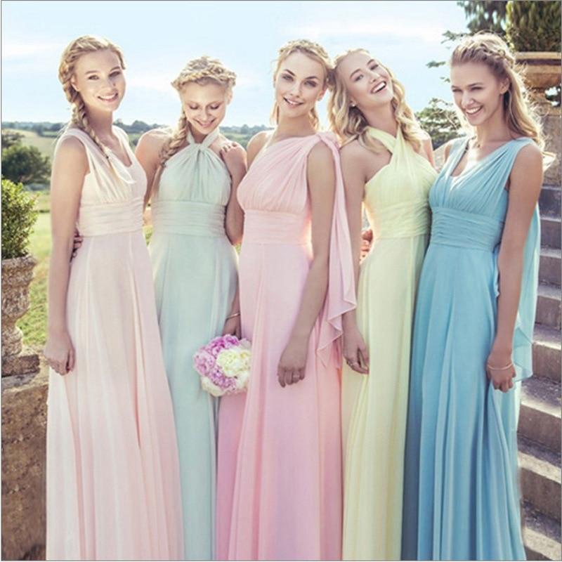 2019 Hot Lace Up Sleeveless Long Bridesmaid Dresses  Ruffles Chiffon A-Line Vestido De Madrinha De Casamento Longo