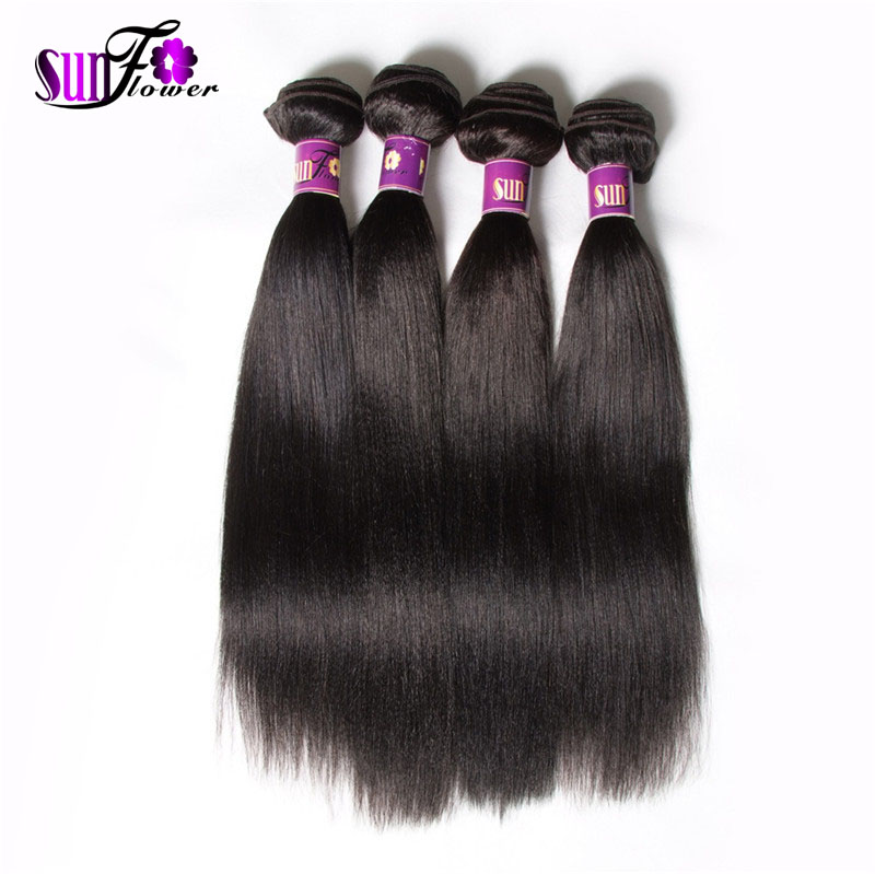 Brazilian Yaki Straight Human Hair Weave Lot Natural Black Virgin Light Extensions