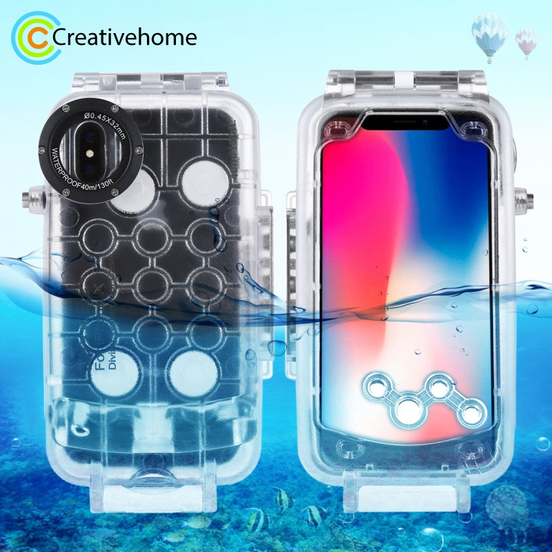 For iPhone XS 40m 130ft Professional Waterproof Diving Protective Housing Photo Video Underwater Cover Case for