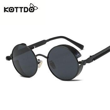 c2427a9002 KOTTDO de moda gafas de sol redondas de Metal de las mujeres hombres-diseño  de marca gafas Vintage gafas de sol hombre gafas de sol UV400