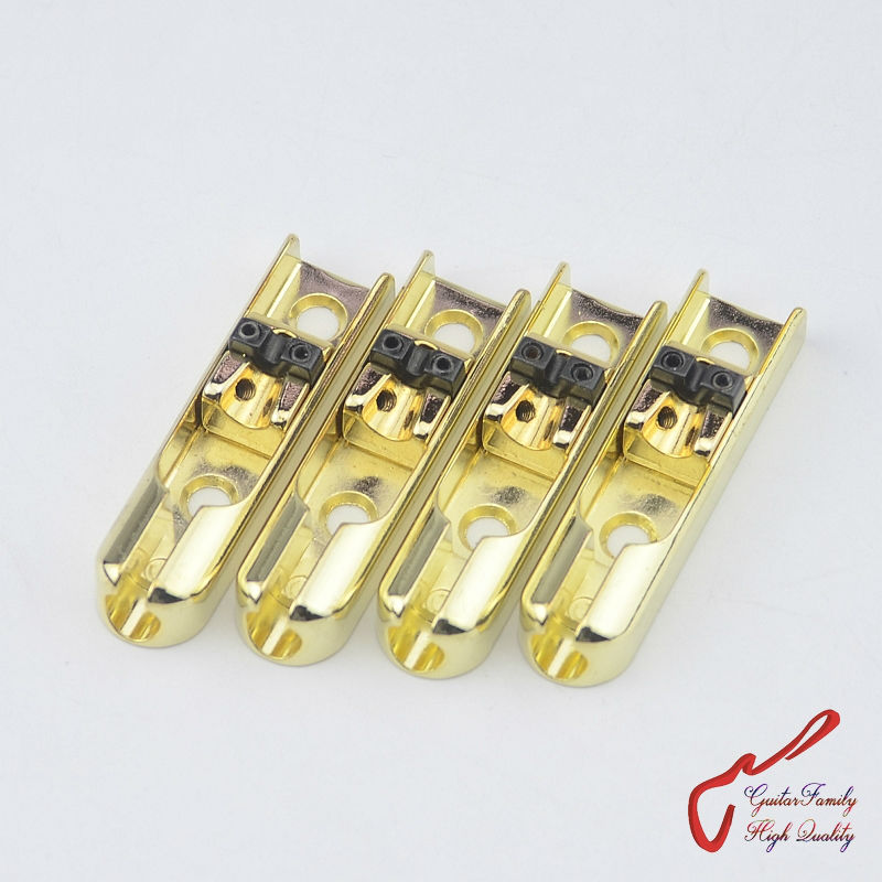 1 Set ( 4 pieces ) GuitarFamily Single-String Bass Bridge With Lock Down For 4 Strings Electric Bass  ( Gold )  MADE IN KOREA 4pcs 990l electric bass guitar string 045 090 strings for electric bass with colored box