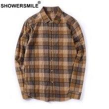 7a33281323 CHUVEIROS Marrom Xadrez Camisas Dos Homens De Flanela Camisa Masculina de  Algodão de Manga Longa Ocasional
