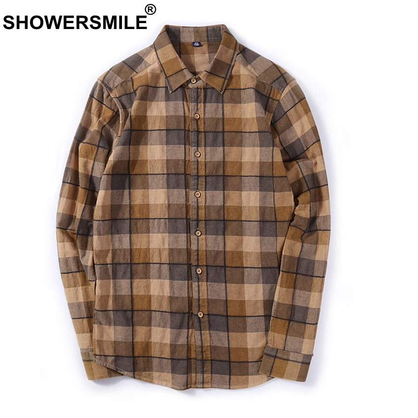 SHOWERSMILE Brown Plaid Shirts Men Flannel Casual Long Sleeve Shirt Male Cotton Slim Fit Checkered Autumn British Style Clothing ...