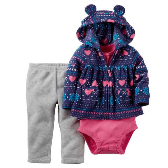 2017 Nova Chegada Do Bebê Menina Conjunto de Roupas Recém-nascidos 3 Pcs Terno Casaco + Calça + Romper Meninas de Moda Primavera Algodão inverno Macacão 15E