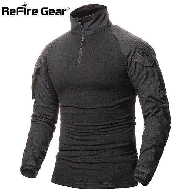 Refire Шестерни камуфляжные армейские футболки Для мужчин США RU солдаты Combat Tactical футболка военной силы Мультикам Камо с длинным рукавом футболки
