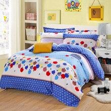 simple blue Apple Dot style Winter soft velvet bedding set super warm bed sheet duvet cover pillowcase soft bedding home textile