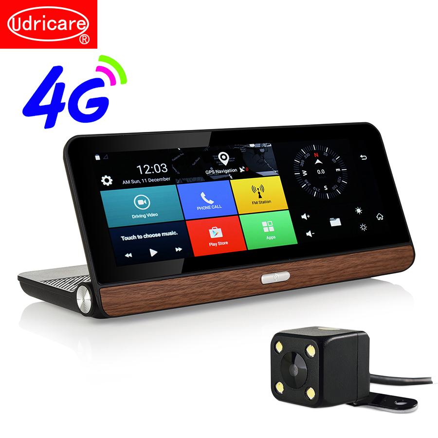 Udricare 8 inch 4G SIM Card GPS Android 5.1 WiFi Bluetooth Phone Call 4G Dashboard GPS HD 1080P Dual Lens Rear View Camera DVR image