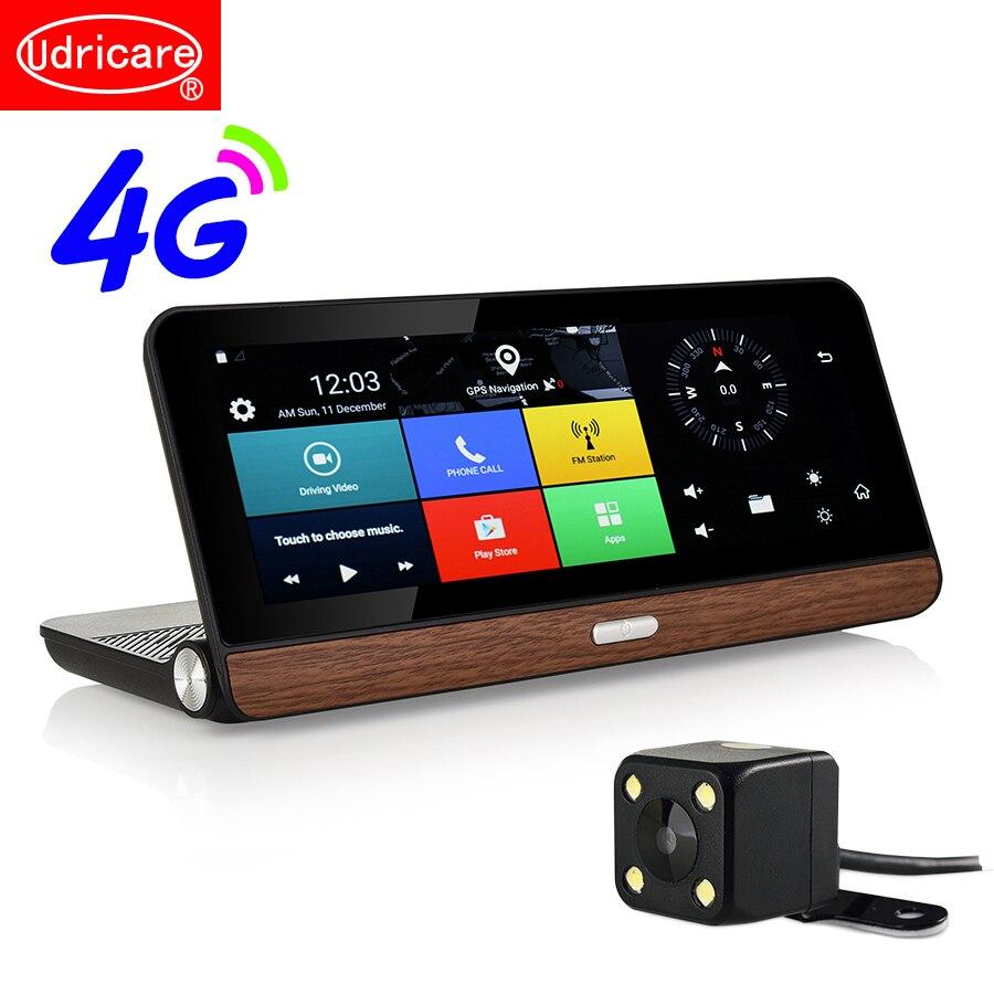 Udricare-carte SIM GPS 8 pouces 4G | Android 5.1, WiFi, Bluetooth, appels téléphoniques, tableau de bord 4G, GPS HD 1080P à double objectif, caméra arrière DVR