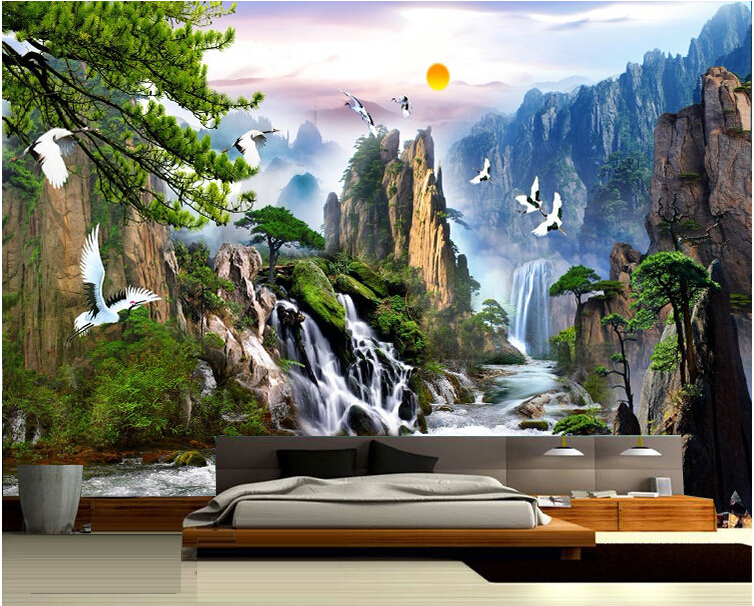 China Landscape Photo Wallpaper Natural Scenery Mural Wallpaper Home Decor Wall Mural In