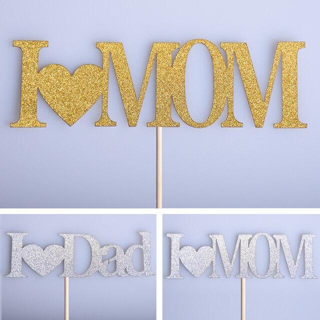 1 Unid Amo Mama Papa Cupcake Cake Toppers Cake Banderas Dia Del