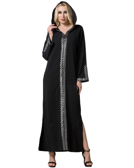 40d61dc4d6 Fashion Women Middle East Hooded Dress Long Sleeve Side Slit Muslim Dress  Robe Femme Islamic Arabia Abayas Black Abaya Dress